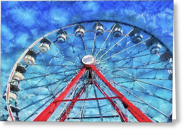 Amusements Greeting Cards - Carnival - Round and Round  Greeting Card by Mike Savad