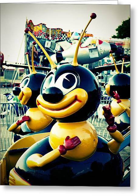 Amusements Digital Art Greeting Cards - Carnival Bee Greeting Card by Sonja Quintero