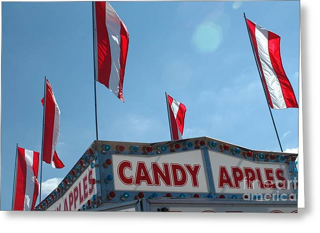 Festivals Fairs Carnival Photos Greeting Cards - Carnival Festival Fair Candy Apples and Flag Stand Greeting Card by Kathy Fornal