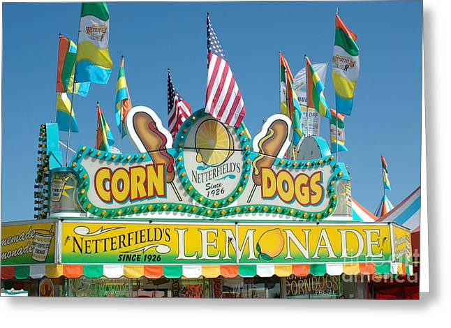 Carnival Fun Festival Art Decor Greeting Cards - Carnival Festival Fun Fair Corn Dog Lemonade Stand Greeting Card by Kathy Fornal