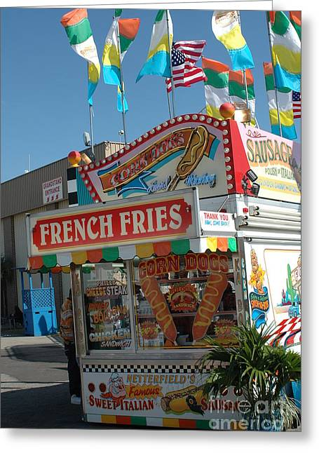 Carnival Fun Festival Art Decor Greeting Cards - Carnival Festival Fun Fair French Fries Food Stand Greeting Card by Kathy Fornal