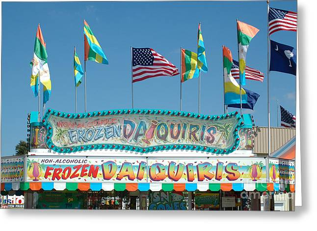 Candy Apples Greeting Cards - Carnival Festival Fun Fair Frozen Daiguiris Stand Greeting Card by Kathy Fornal