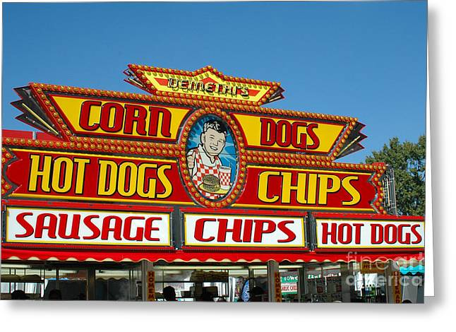 Candy Apples Greeting Cards - Carnival Festival Fun Fair Hot Dog Stand Greeting Card by Kathy Fornal