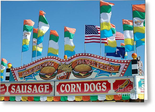 Carnival Fun Festival Art Decor Greeting Cards - Carnival Festival Fun Fair Sausage Corn Dog Stand Greeting Card by Kathy Fornal