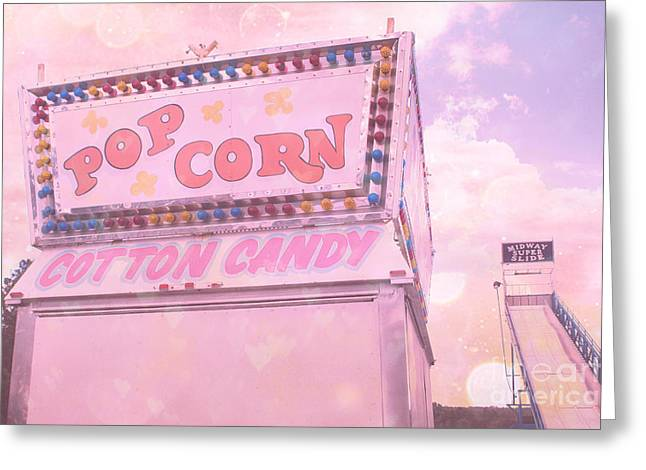 Carnival Fun Festival Art Decor Greeting Cards - Carnival Festival Popcorn Cotton Candy Slide Fun Greeting Card by Kathy Fornal