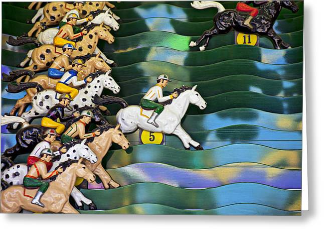 Racing Number Greeting Cards - Carnival horse race game Greeting Card by Garry Gay