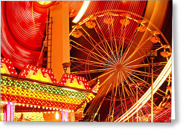 Theme Park Greeting Cards - Carnival lights  Greeting Card by Garry Gay
