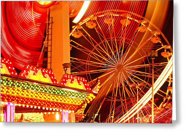 Theme Parks Greeting Cards - Carnival lights  Greeting Card by Garry Gay