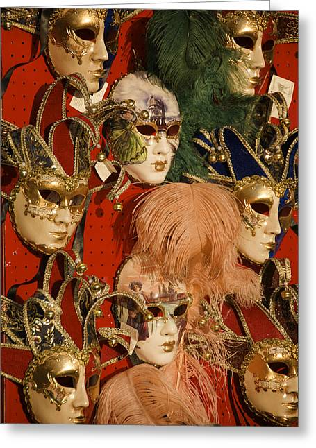 Italian Shopping Photographs Greeting Cards - Carnival Masks For Sale Greeting Card by Jim Richardson