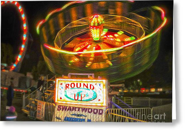 Carnival Ride - The Round Up Greeting Card by Gregory Dyer