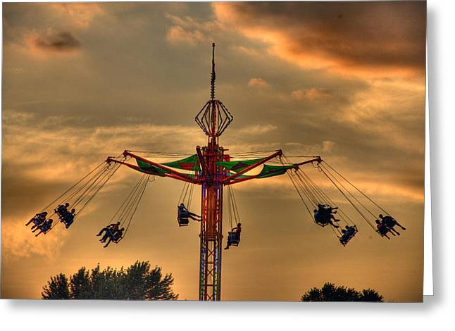 Abandoned Train Greeting Cards - Carnival Ride Greeting Card by Nicholas  Grunas