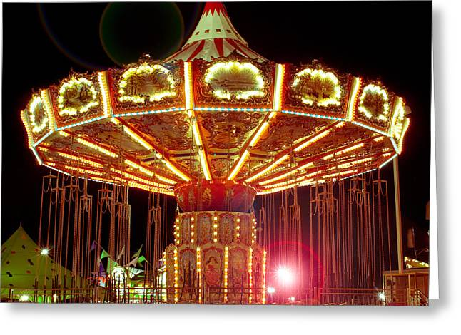 Nikon D80 Greeting Cards - Carnival Swing Nite Greeting Card by Sonja Quintero