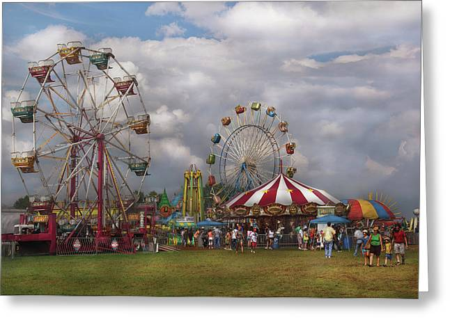 Corousel Greeting Cards - Carnival - Traveling Carnival Greeting Card by Mike Savad