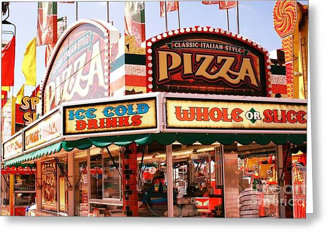 Carnival Fun Festival Art Decor Greeting Cards - Carnivals Fairs and Festival Art - Pizza Stand  Greeting Card by Kathy Fornal