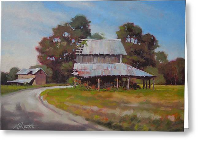 Tin Roof Paintings Greeting Cards - Carolina Dirt Road Greeting Card by Todd Baxter