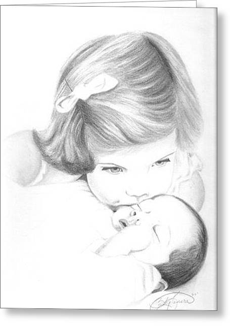 F And F Baby Greeting Cards - Caroline Kennedy and JFK Jr. Greeting Card by Rebecca Bellomo