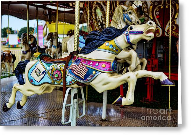 Armitage Greeting Cards - Carousel - Horse - Jumping Greeting Card by Paul Ward