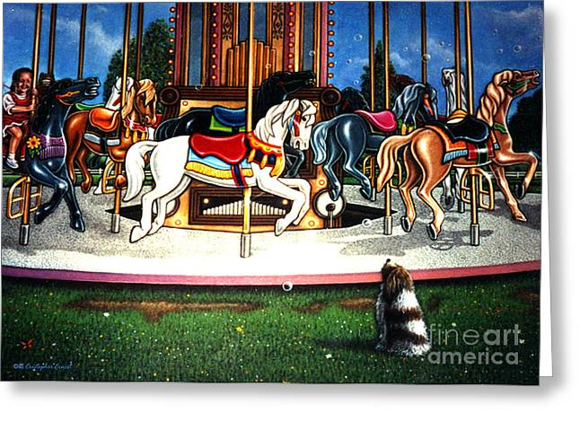 Commission Work Greeting Cards - Carousel center detail Greeting Card by Cristophers Dream Artistry