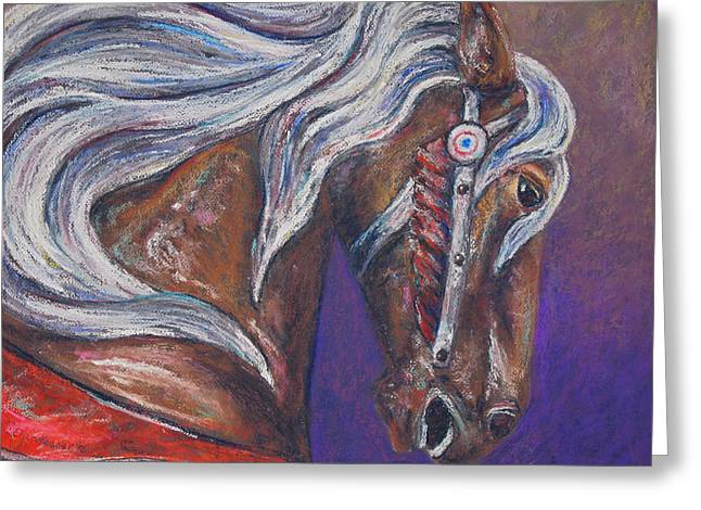 Amusements Pastels Greeting Cards - Carousel Horse Greeting Card by Erica Keener