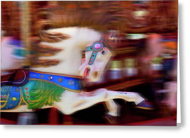 Carousel Greeting Cards - Carousel horse in motion Greeting Card by Garry Gay