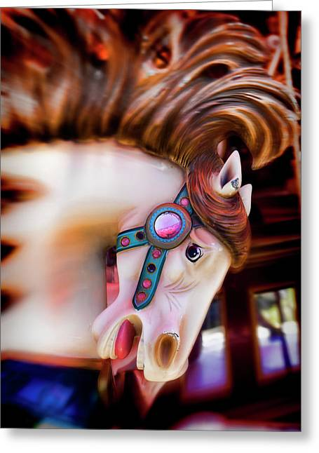 Carousel Greeting Cards - Carousel horse portrait Greeting Card by Garry Gay