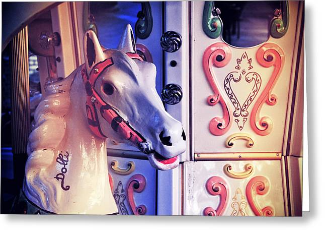 Galloper Greeting Cards - Carousel horse Greeting Card by Silvia Ganora