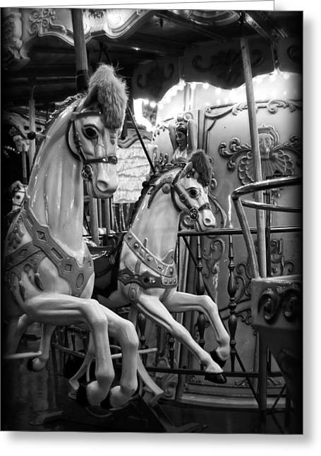 Amusements Greeting Cards - Carousel Horses No. 1 Greeting Card by Tammy Wetzel