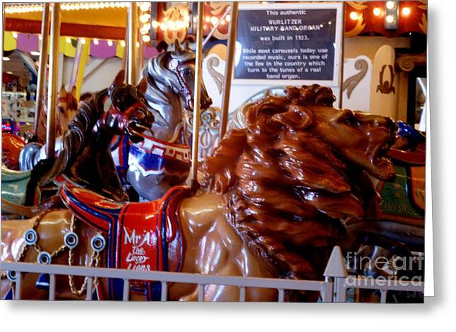 Looff Greeting Cards - Carousel Lion Greeting Card by Kathy Flugrath Hicks