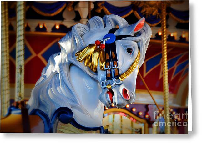 Galloper Greeting Cards - Carousel Greeting Card by Lyle  Huisken