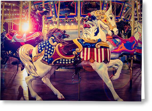 Patriot Art Prints Greeting Cards - Carousel Spirit Greeting Card by Sonja Quintero