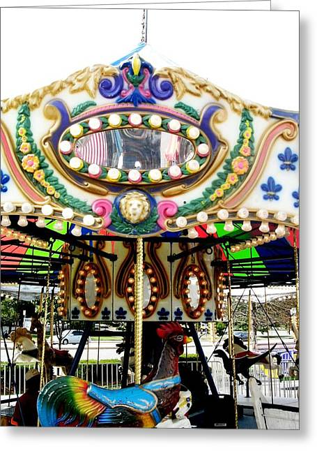 Amusements Pyrography Greeting Cards - Carousel- Springfield Days Festival Greeting Card by Fareeha Khawaja