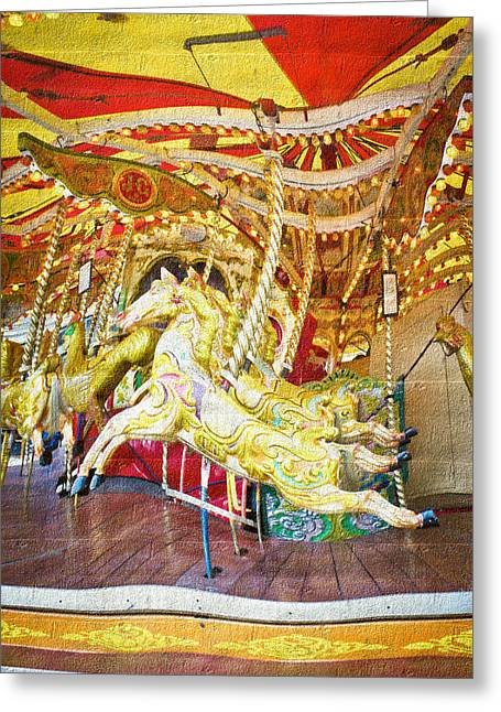 Amusements Greeting Cards - Carousel Greeting Card by Tom Gowanlock