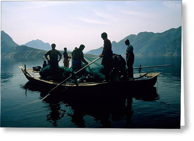 Chinese Ethnicity Greeting Cards - Carp Fishermen In Lake Formed By A Dam Greeting Card by Michael S. Yamashita