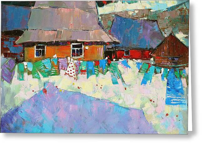 Country Cottage Greeting Cards - Carpathian Assorted Greeting Card by Anastasija Kraineva