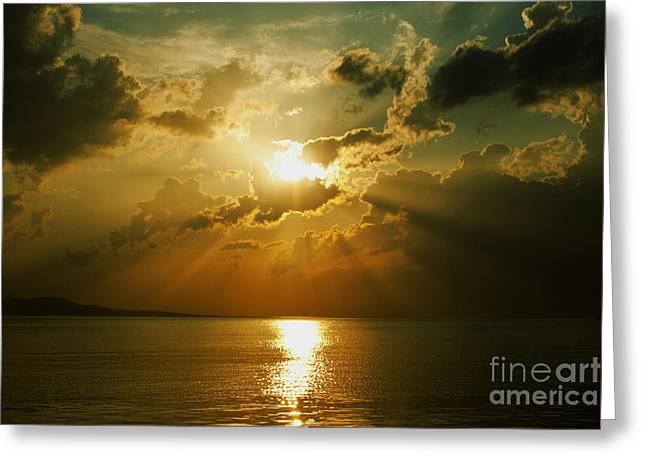 Blue Green Water Greeting Cards - Carpe Diem Greeting Card by Andrew Paranavitana