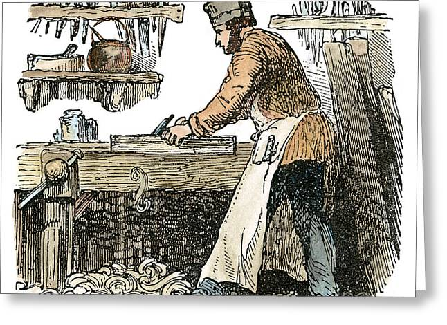 Apron Greeting Cards - CARPENTER, c1865 Greeting Card by Granger