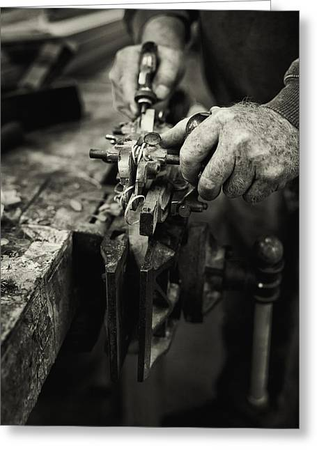 Work Bench Greeting Cards - Carpenter l Greeting Card by Rob Travis