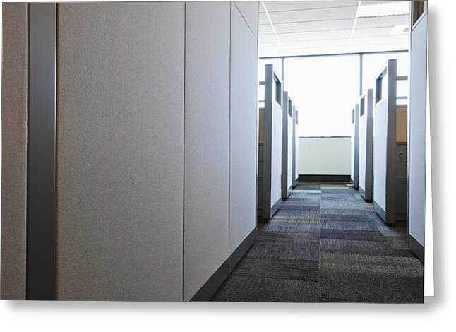 Carpeted Hall with Office Cubicles Greeting Card by Jetta Productions, Inc