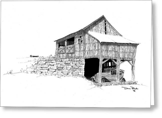 Drawings Of Barns Greeting Cards - Carriage House Greeting Card by Donald Black