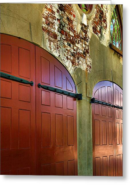 Framed Old Door Print Greeting Cards - Carriage House Doors Greeting Card by Steven Ainsworth