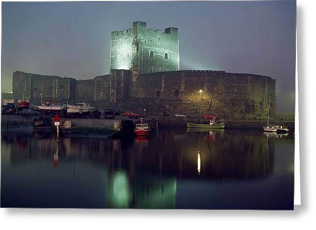 Foggy Day Greeting Cards - Carrickfergus Castle & Harbour, Co Greeting Card by The Irish Image Collection