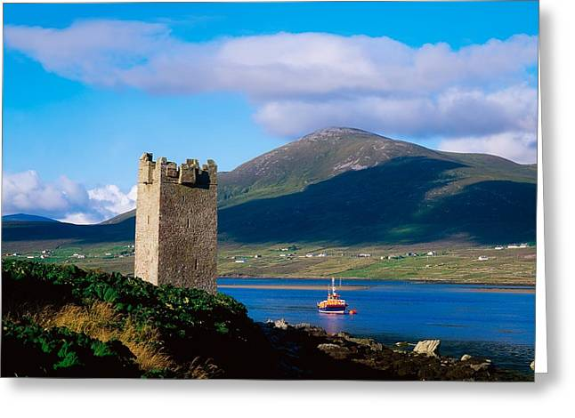 Political Figures Greeting Cards - Carrickkildavnet Castle, Achill Island Greeting Card by The Irish Image Collection