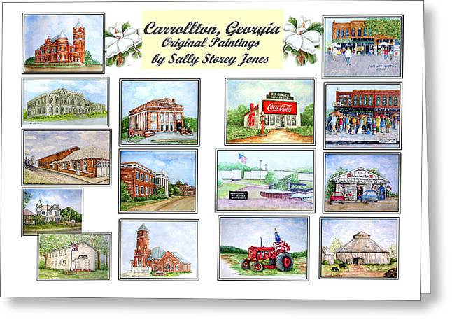 Veterans Memorial Paintings Greeting Cards - Carrollton Georgia Greeting Card by Sally Storey Jones