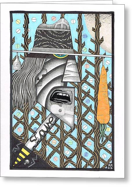 Pill Drawings Greeting Cards - Carrotman Greeting Card by Rolfe Knudsen