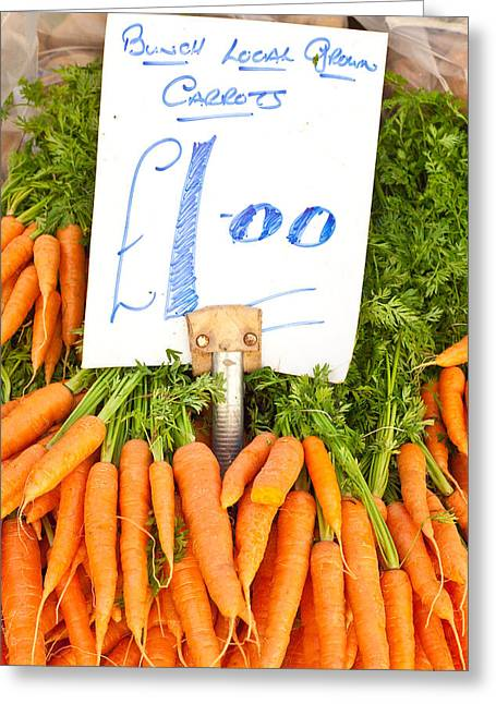 Locally Grown Greeting Cards - Carrots Greeting Card by Tom Gowanlock