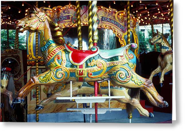 Carrouse horse Paris France Greeting Card by Garry Gay