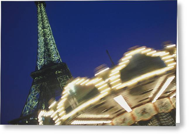 Amusements Greeting Cards - Carrousel with Eiffel Tower in Background Greeting Card by Will & Deni McIntyre