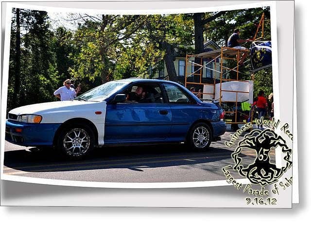 Elk Rapids Greeting Cards - Cars Crossing Greeting Card by PhotoChasers