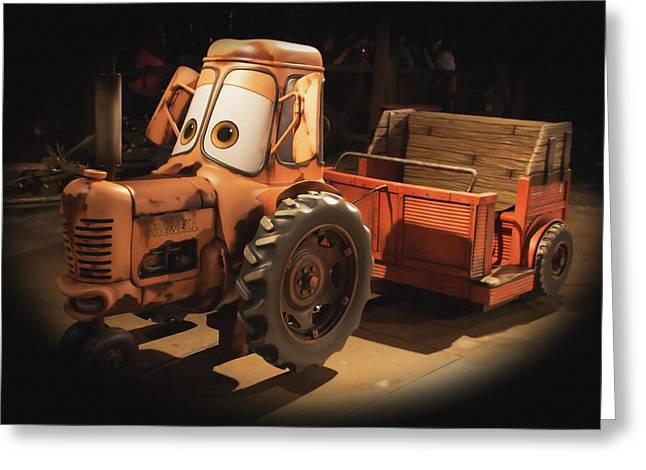 Disney Photographs Greeting Cards - Cars Land Cow Tractor Greeting Card by Heidi Smith