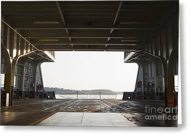 Yellow Line Greeting Cards - Cars on Ferry Boat At Dusk Greeting Card by Paul Edmondson
